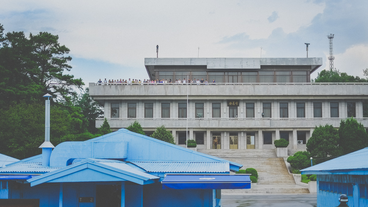 North Korean buildings and visitors at the Korean JSA in the DMZ