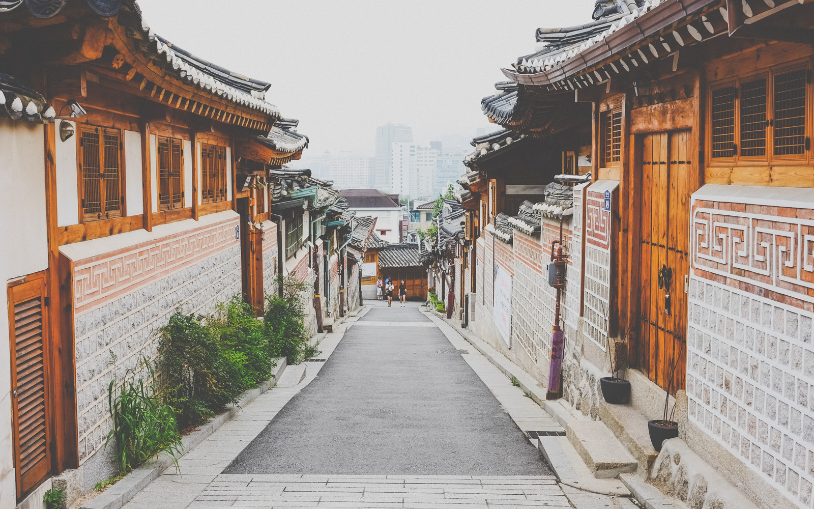 Bukchon Hanok Village and hazy Seoul